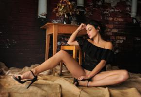 joy lamore, sexy girl, adult model, heels, brunette, tanned, legs