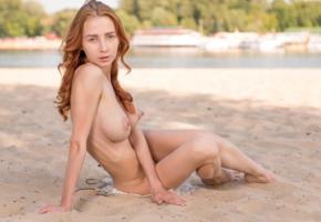 redhead, petite, beach, naked, big tits, hard nipples, ultra hi-q, helga g, boobs