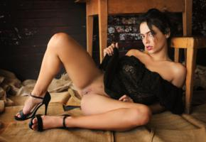 joy lamore, sexy girl, adult model, heels, brunette, tanned, spreading legs, shaved pussy, labia, pussy