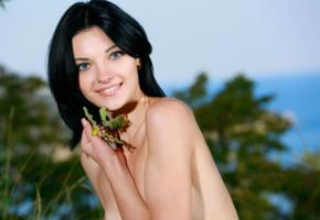 florina, alna, sexy girl, adult model, smile, outdoor, black hair