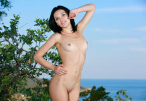 florina, alna, sexy girl, adult model, smile, outdoor, sea, nude, black hair, tits, shaved pussy
