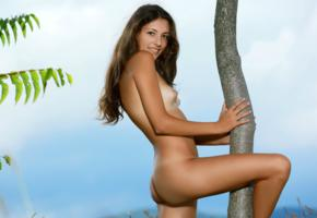 hailey, diana i, rosella, verona, brunette, outdoors, tree, naked, small tits, puffy nipples, ass, smile, tanlines, hi-q
