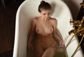 caramel, domai, bath, cutie, brunette, perfect shapes, bathtub, nude, boobs, tits, wet