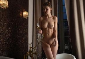 caramel, domai, bath, cutie, brunette, perfect shapes, bathtub, nude, boobs, big tits, shaved pussy