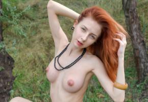 helga grey, helga, helga g, nikia, olivia, redhead, outdoors, naked, big tits, big nipples, hard nipples, hi-q