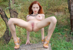 helga grey, helga, helga g, nikia, olivia, redhead, outdoors, naked, big tits, big nipples, hard nipples, shaved pussy, labia, ass, spread legs, hi-q