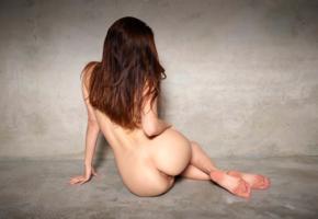 hilary c, aksana k, jane y, liana c, model, brunette, long hair, back, pussy, shaved pussy, labia, anus, bum, ass, nude