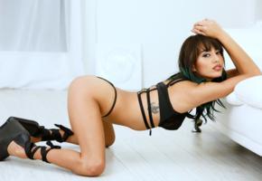 janice griffith, brunette, lingerie, bra, panties, ass, tattoo, doggy, high heels, hi-q