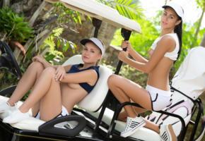 angel b, pamela, playboy plus, golfcar, sexy, golf cart, smile