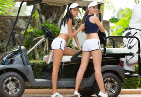 angel b, pamela, playboy plus, golfcar, sexy, golf cart, smile, legs, shorts, taya