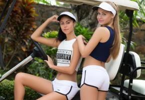 angel b, pamela, playboy plus, golfcar, sexy, golf cart, smile, shorts
