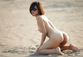 asian, pussy, beach, nude, ass, tits, boobs, sunglasses, 4k