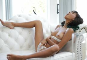 janice griffith, brunette, sofa, lingerie, bra, panties, topless, tits, nipples, spread legs, tan lines, hi-q
