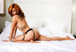 sandra vidovic, sexy girl, adult model, nude, naked, tattoo, bed, ass, suspenders, redhead
