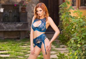 chandler south, sexy girl, adult model, lingerie, bra, panties, blue lingerie, stockings, suspenders, redhead, erotic, lingerie series