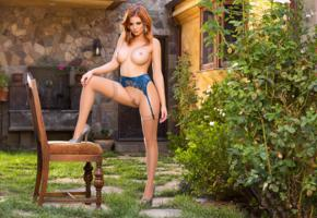 chandler south, sexy girl, adult model, pussy, blue lingerie, stockings, suspenders, redhead, boobs, big tits, trimmed pussy