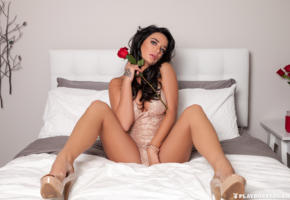 brittney shumaker, brunette, sexy girl, adult model, flowers, rose