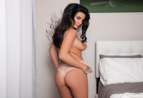 brittney shumaker, brunette, sexy girl, adult model, bed, tanned, ass, boobs, big tits