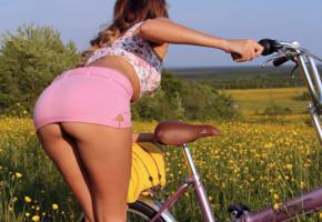 katya clover, brunette, ass, skirt, bike, pink skirt, grass, tanned, sexy, ass wallpaper