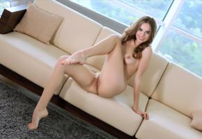 gracie a, gracie, angelina ballerina, anna netrebko, marion y, vivian b, model, babe, brunette, smile, small tits, tits, pussy, shaved pussy, labia, ass, legs, nude, sofa