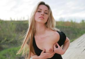 natalia b, erotic beauty, gone wild, blonde cutie, tits, black dress, tits out