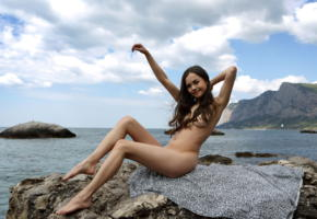 li moon, kiki, lee moon, annika a, brunette, beach, rocks, naked, tits, smile, hi-q, sea