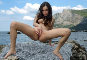 li moon, kiki, lee moon, annika a, brunette, beach, rocks, naked, tits, nipples, shaved pussy, spread labia, ass, spread legs, hi-q, sea