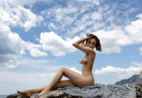 li moon, kiki, lee moon, annika a, brunette, beach, rocks, sky, naked, tits, legs, hi-q
