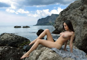 li moon, kiki, lee moon, annika, brunette, beach, rocks, naked, tits, nipples, hi-q, sea