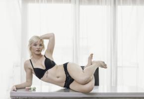 zazie s, blonde, sexy girl, adult model, lingerie, non nude, bra, black lingerie, black panties