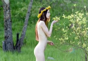 lapa, pala, taressa, model, babe, teen, brunette, russian, nude, slim, flowers, outdoors, nature
