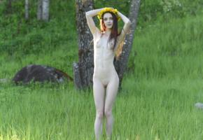lapa, pala, taressa, model, teen, brunette, smile, russian, small tits, slim, pussy, nude, grass, trees, outdoors, nature, skinny