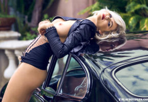 model, playmate, blonde, leather jacket, boobs, sensual lips, car, sport car, hugh hefner tribute