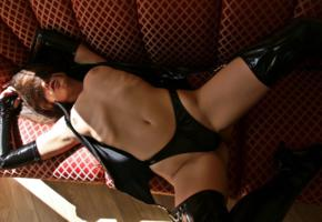 aksana, young, brunette, russian, adult model, fetish babe, shiny, pvc, lingerie, gloves, corselet, string, stockings, aksana k