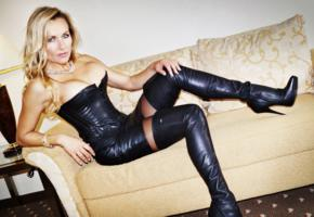 comtesse monique, blonde, german, milf, real life, domina, sofa, leather, mistress, big tits, crotch boots, babes in boots