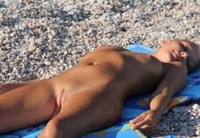 katya clover, clover, mango, caramel, mango a, brunette, naked, beach, tits, shaved pussy, labia, tanned, hi-q