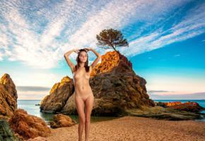 katya clover, clover, mango, caramel, mango a, brunette, beach, naked, tits, nipples, shaved pussy, tanned, hi-q