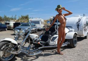 katya clover, clover, mango, caramel, mango a, brunette, tricycle, motorcycle, naked, tits, nipples, shaved pussy, cowboy hat, smile, tanned, hi-q
