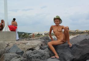 katya clover, clover, mango, caramel, mango a, brunette, beach, naked, cowboy hat, tits, nipples, shaved pussy, labia, spread legs, smile, tanned, hi-q