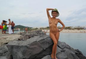 katya clover, clover, mango, caramel, mango a, brunette, beach, naked, cowboy hat, tits, nipples, shaved pussy, smile, tanned, hi-q