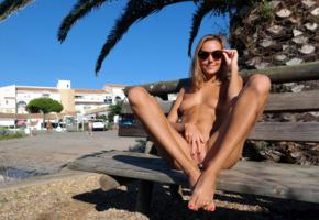 katya clover, clover, mango, caramel, mango a, brunette, outdoors, naked, tits, nipples, shaved pussy, spread labia, buttplug, spread legs, tanned, sunglasses, hi-q