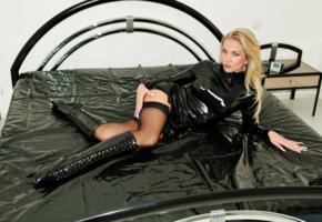 fetish queen vanessa, slim, sexy, german, domina, fetish model, bed, rubber, slave boots, fetish babe, vanessa, heike