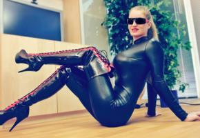 aurora van laak, busty, german, domina, milf, posing, sitting, tight clothes, shiny, lycra, catsuit, pvc, overknee boots, homemade, fetish babe, smile, sunglasses, babes in boots