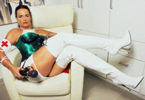 lady alina, german, milf, domina, nurse, corset, miniskirt, pvc, overknee boots, fetish babe, alina, babes in boots