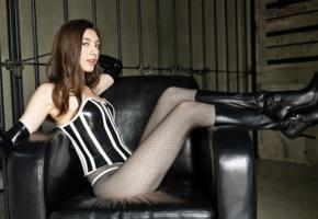 maria, brunette, russian, model, young, sexy babe, pvc, corset, gloves, fishnet, fetish babe, whip, little mistress, leather, knee boots, babes in boots, maria o