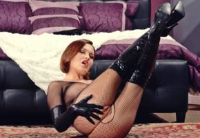 krissy lynn, american, busty, pornactress, adult model, short hair, bodystocking, open crotch, lift legs, fetish babe, pvc, overknee boots, gloves, babes in boots