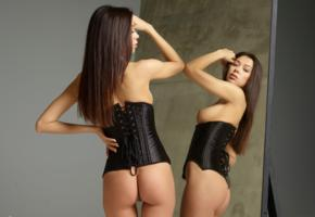 mirror, ass, tits, sexy, corset, boobs, brunette, hot, nicolette, angela, angelika wachowska, jackie