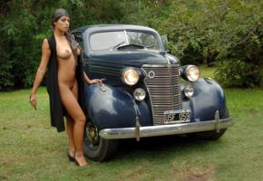 brunette, sexy girl, nude, outdoor, lola, chevrolet, retro cars, car, tits, boobs