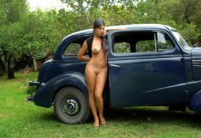 lola, brunette, nude, pussy, outdoor, bad quality, car, retro cars, chevrolet