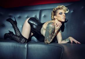 jennica lynn lee, blonde, glamour, alternative model, tattoo, hairstyle, posing, leather, underbust corset, stockings, fetish babe